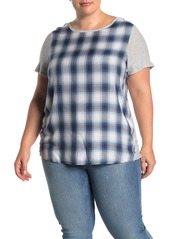 Vince Camuto Mixed Media Plaid Tee (Plus Size)