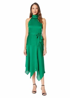 Vince Camuto Mock Halter Neck Hammer Satin Belted Dress