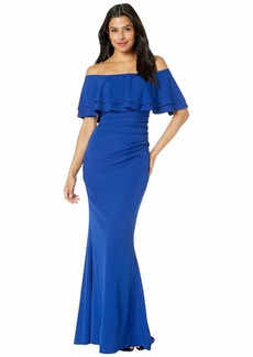 Vince Camuto Off the Shoulder Gown with Two Layer Ruffle Collar