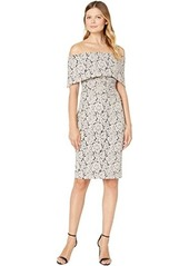 Vince Camuto Off-the-Shoulder Midi Dress with Collar and Side Tucks