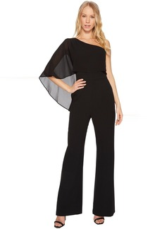 One Shoulder Crepe Jumpsuit with Chiffon Overlay