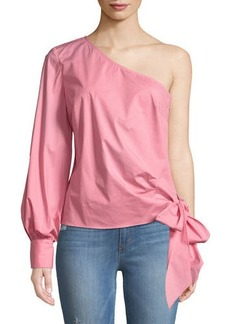 One-Sleeve Poplin Blouse