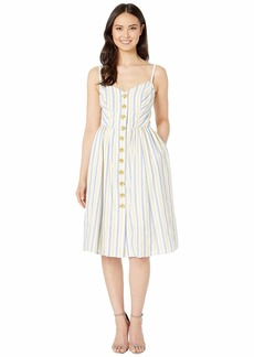 Vince Camuto Open Shoulder Dress with Button Details at the Center