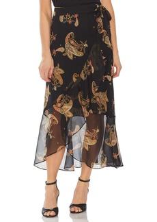 Vince Camuto Paisley Spice Ruffle Midi Skirt