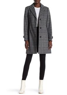 Vince Camuto Peak Lapel Plaid Print Wool Coat