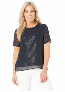 Vince Camuto Petite Short Sleeve All Over Sequin Chiffon Overlay Tee