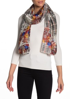 Vince Camuto Plaid Floral Woven Scarf