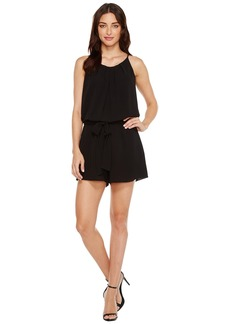 Vince Camuto Pleat Neck Belted Texture Romper