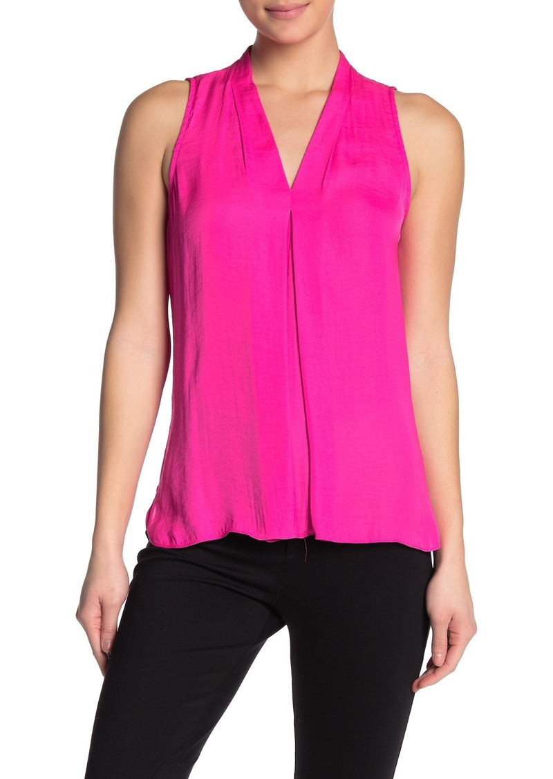 Vince Camuto Pleated V-Neck Sleeveless Shirt