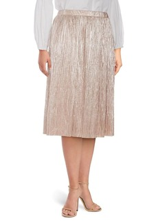 Vince Camuto Plus Crushed Foiled Pleated Skirt