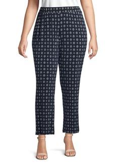 Vince Camuto Plus Geometric-Print Ankle-Length Pants