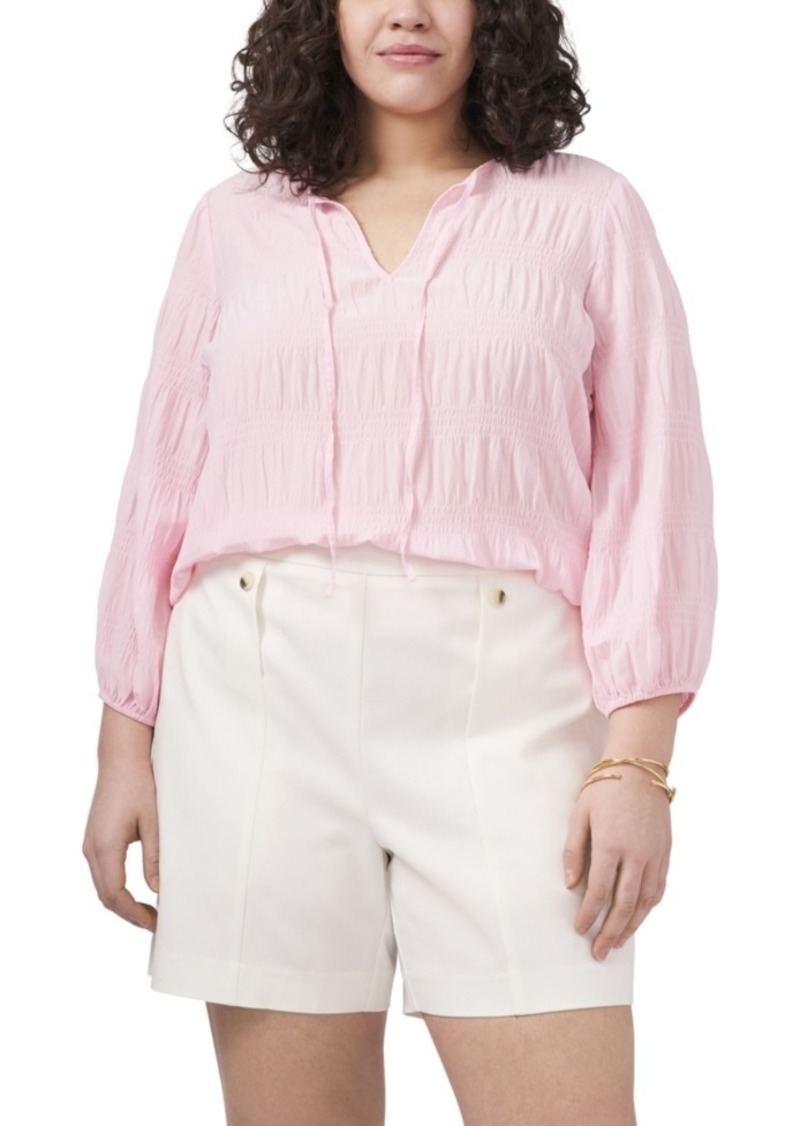 Plus Size 3/4 Sleeve Smocked Texture Blouse