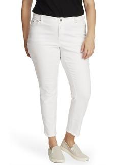 Vince Camuto Plus Size 5 Pocket Frayed Hem Jeans