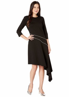 Vince Camuto Ponte Asymmetrical Hem Dress w/ Silver Zipper Trim