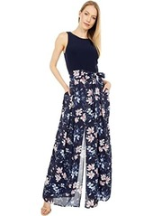 Vince Camuto Printed Chiffon and Ity Twofer Jumpsuit