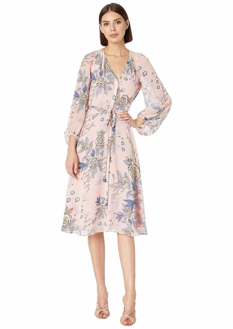 Vince Camuto Printed Chiffon Balloon Sleeve V-Neck Fit and Flare Dress