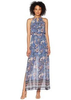 Vince Camuto Printed Chiffon Maxi with Ruffle Bodice