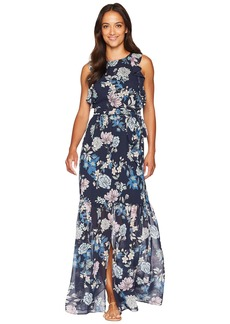 Vince Camuto Printed Chiffon Maxi with Ruffle Bodice with Split Flounce