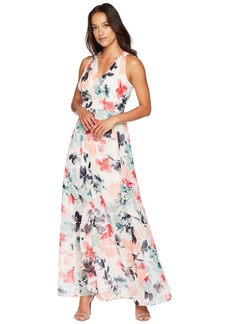 Vince Camuto Printed Chiffon Maxi with V-Neck and Ruffle