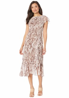 Vince Camuto Printed Chiffon Midi with Flutter Sleeve and Ruffle Skirt