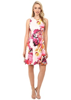 Vince Camuto Printed Cotton Sateen Sleeveless Fit and Flare w/ Release Pleats