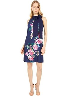 Vince Camuto Printed Crepe Bow Neck Shift