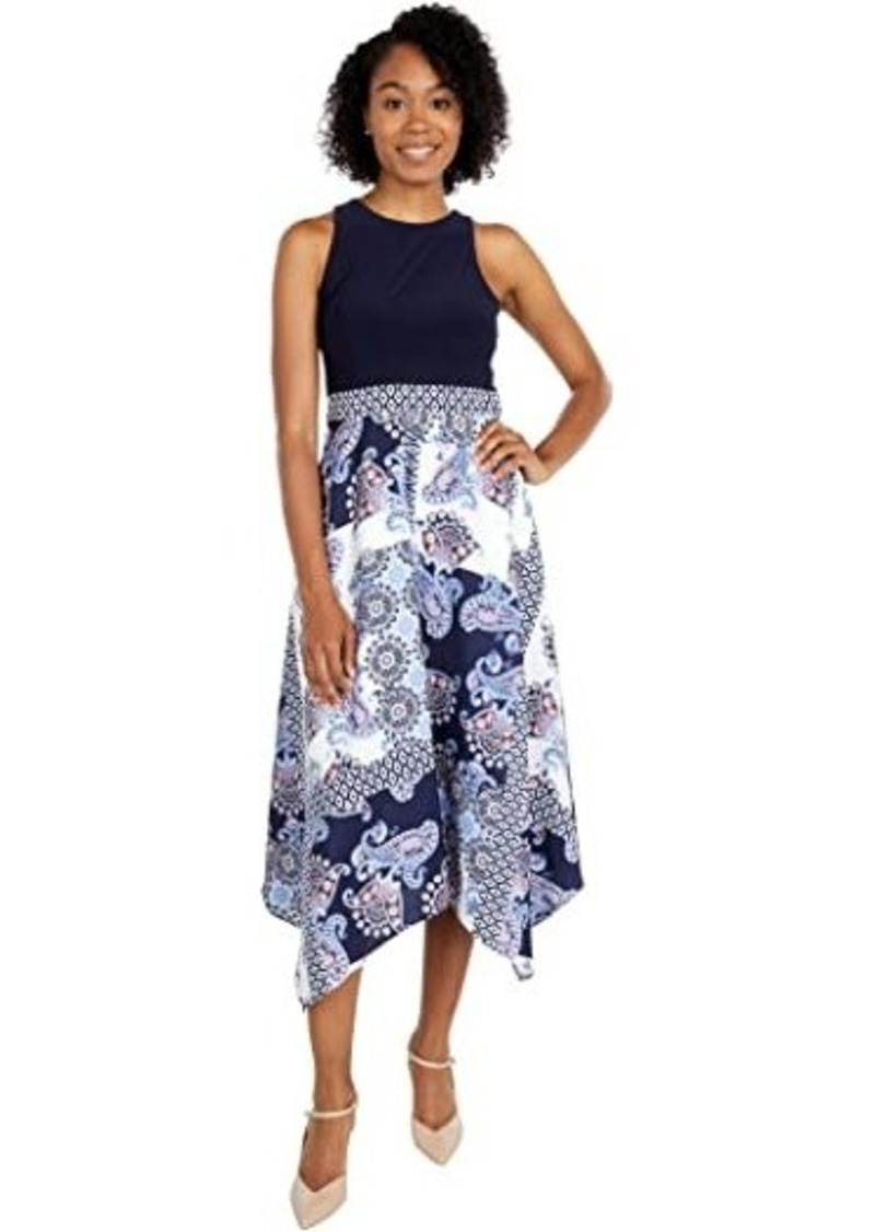 Vince Camuto Printed Crepe De Chine and Jersey Twofer Midi with Handkerchief Hem