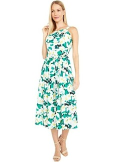 Vince Camuto Printed Crepe De Chine Halter Neck Wide Inset Waistband Midi
