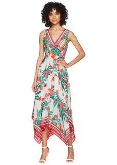 Vince Camuto Printed Handkerchief Hem V-Neck Dress