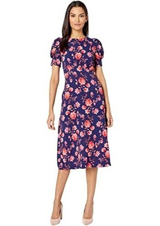 Vince Camuto Printed Pebble Crepe Puff Sleeve Curved Waist Midi Dress with Back Neck Tie