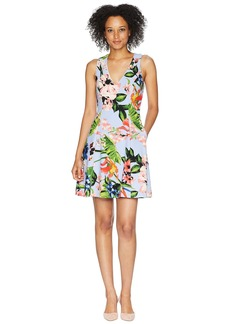 Vince Camuto Printed Scuba Crepe Fit and Flare Dress