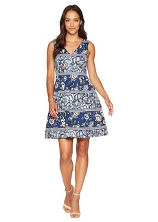 Vince Camuto Printed Scuba Fit and Flare with Double V-Neck