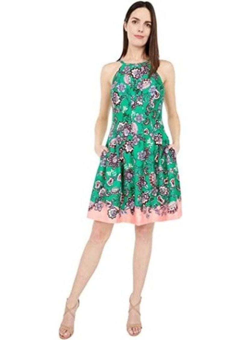 Vince Camuto Printed Scuba Halter Fit-and-Flare