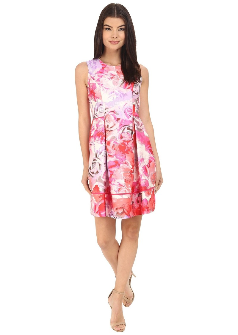 Vince Camuto Printed Twill Sleeveless Fit and Flare Dress  with Seam Detail on Skirt