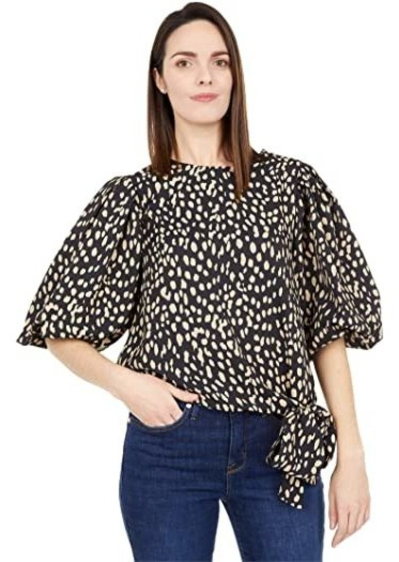 Vince Camuto Puff Sleeve Animal Reset Side Tie Blouse