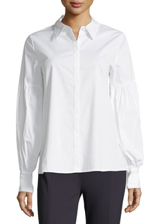 Vince Camuto Puff-Sleeve Poplin Blouse