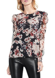 Vince Camuto Puffed Shoulder Floral Printed Top