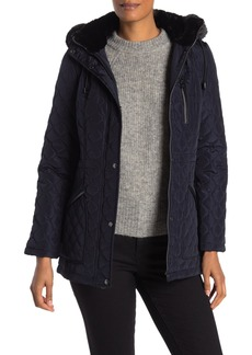 Vince Camuto Quilted Faux Fur Hood Parka Jacket