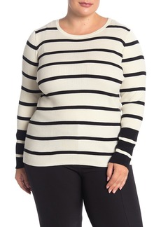 Vince Camuto Ribbed Stripe Sweater (Plus Size)