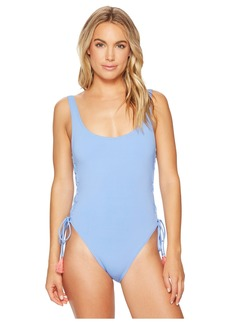 Vince Camuto Riviera Solids Lace-Up U-Neck One-Piece Swimsuit w/ Removable Soft Cups