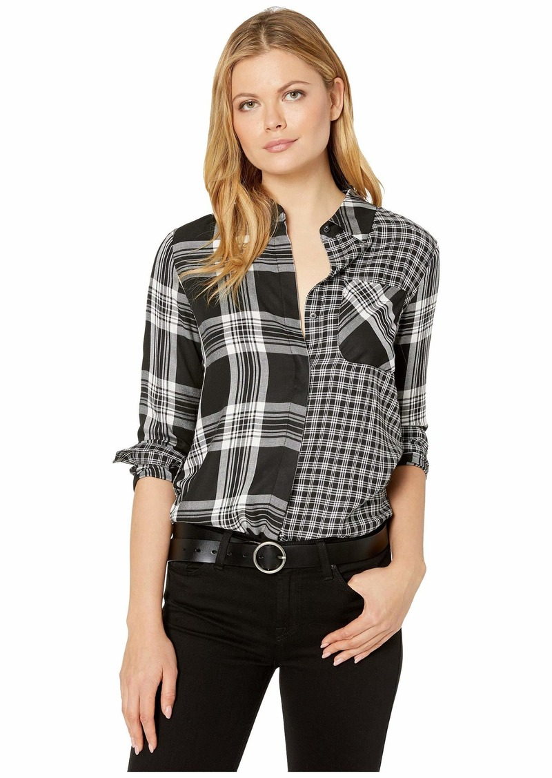 Vince Camuto Roll Sleeve Mix Plaid Shift One-Pocket Shirt