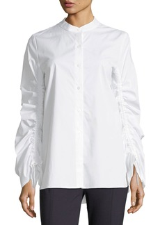 Ruched-Sleeve Button-Front Shirt