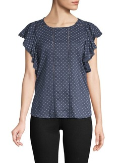 Vince Camuto Ruffled-Sleeve Stitched Top