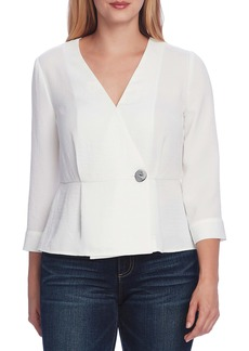 Vince Camuto Rumple Twill Peplum Wrap Blouse