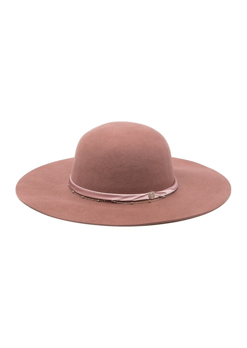 Vince Camuto Satin Chain Band Wool Floppy Hat