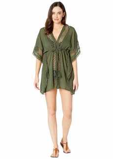 Vince Camuto Shore Shades Tie Front Caftan Cover-Up
