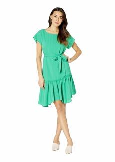 Vince Camuto Short Sleeve Asymmetrical Ruffle Hem Belted Dress