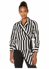 Vince Camuto Short Sleeve Bold Stripe Wrap Front Asymmetrical Peplum Hem Blouse