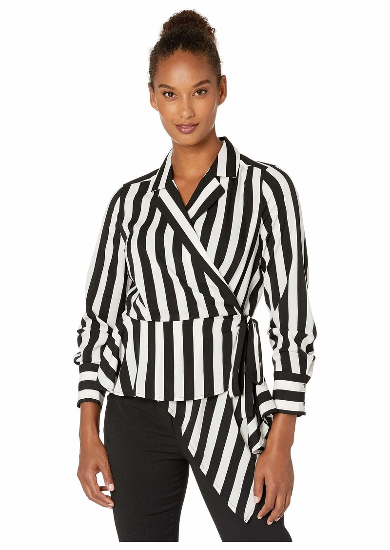 Short Sleeve Bold Stripe Wrap Front Asymmetrical Peplum Hem Blouse