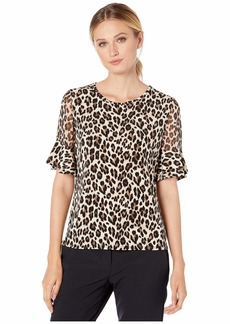 Vince Camuto Short Sleeve Chiffon Sleeve Elegant Leopard Top